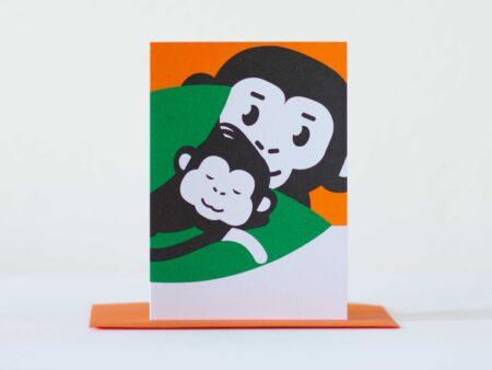 aapje Pie geboortekaart met illustraties uit Pie het avontuur begint