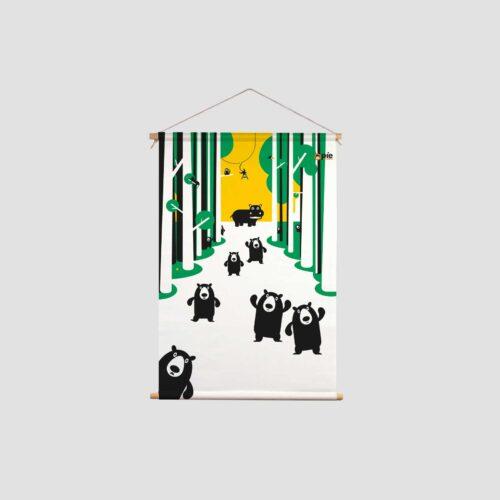 Kleurrijke kinderkamer decoratie beren op de weg en Aapje Pie met primaire en secundaire kleuren en illustraties uit Pie het avontuur begint