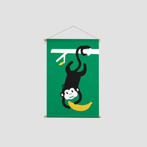 Wholesale Textielposter Aapje Pie met banaan kinderkamer of babykamer Aapje Pie met primaire en secundaire kleuren en illustraties uit Pie het avontuur begint Kinderkamer decoratie