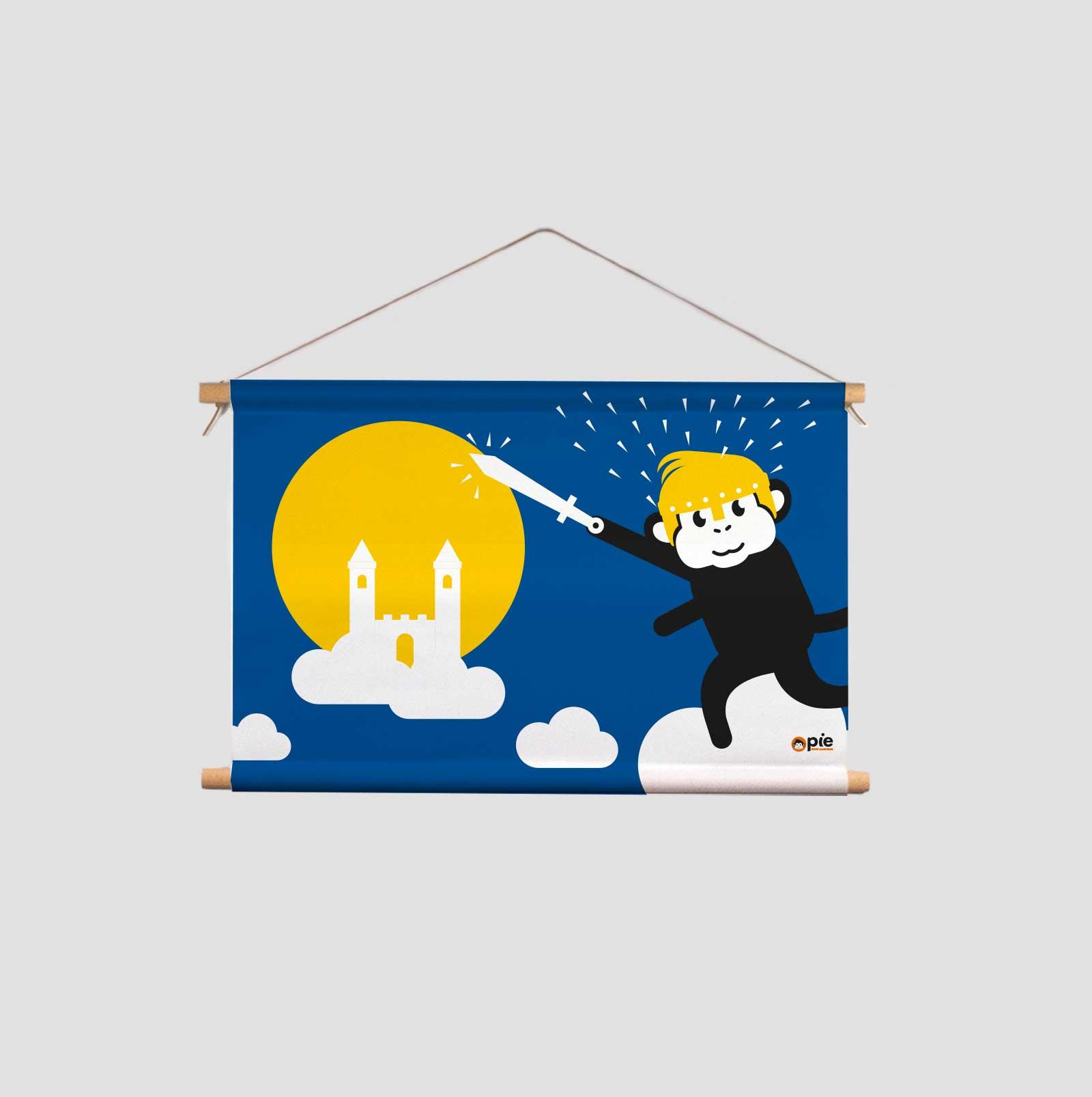 Textielposter Aapje Pie droom ridder met banaan kinderkamer of babykamer Aapje Pie met primaire en secundaire kleuren en illustraties uit Pie het avontuur begint