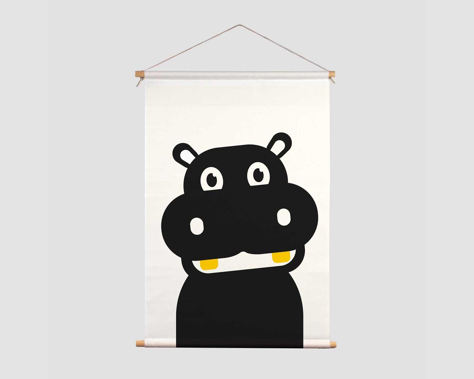 Textielposter zwart-wit print aapje Pie Hippo t'amo nijlpaard zwart wit kraamcadeau jungle decoratie kinderkamer