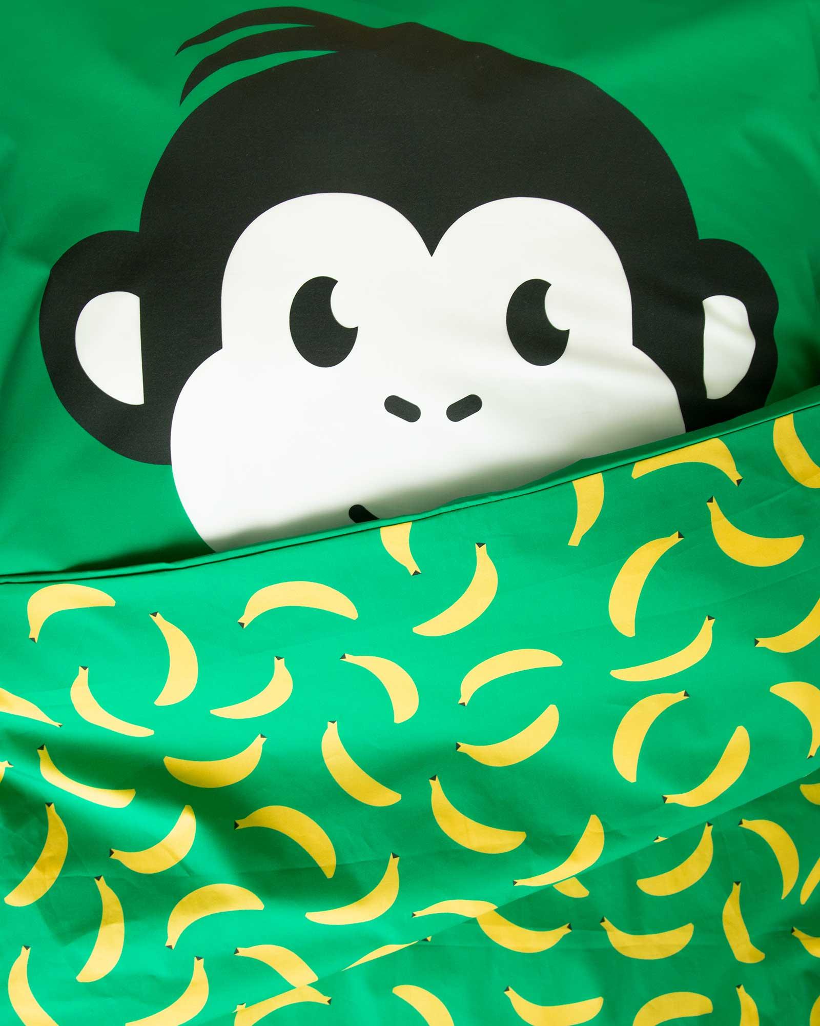Peuter junior dekbedovertrek aapje Pie groen 120 x 150 Let's go bananas detail
