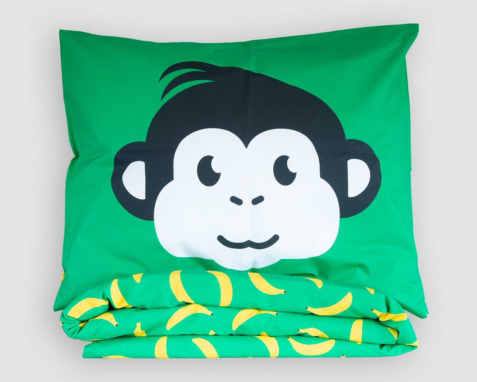 Peuter junior dekbedovertrek aapje Pie groen 120 x 150 Let's go bananas