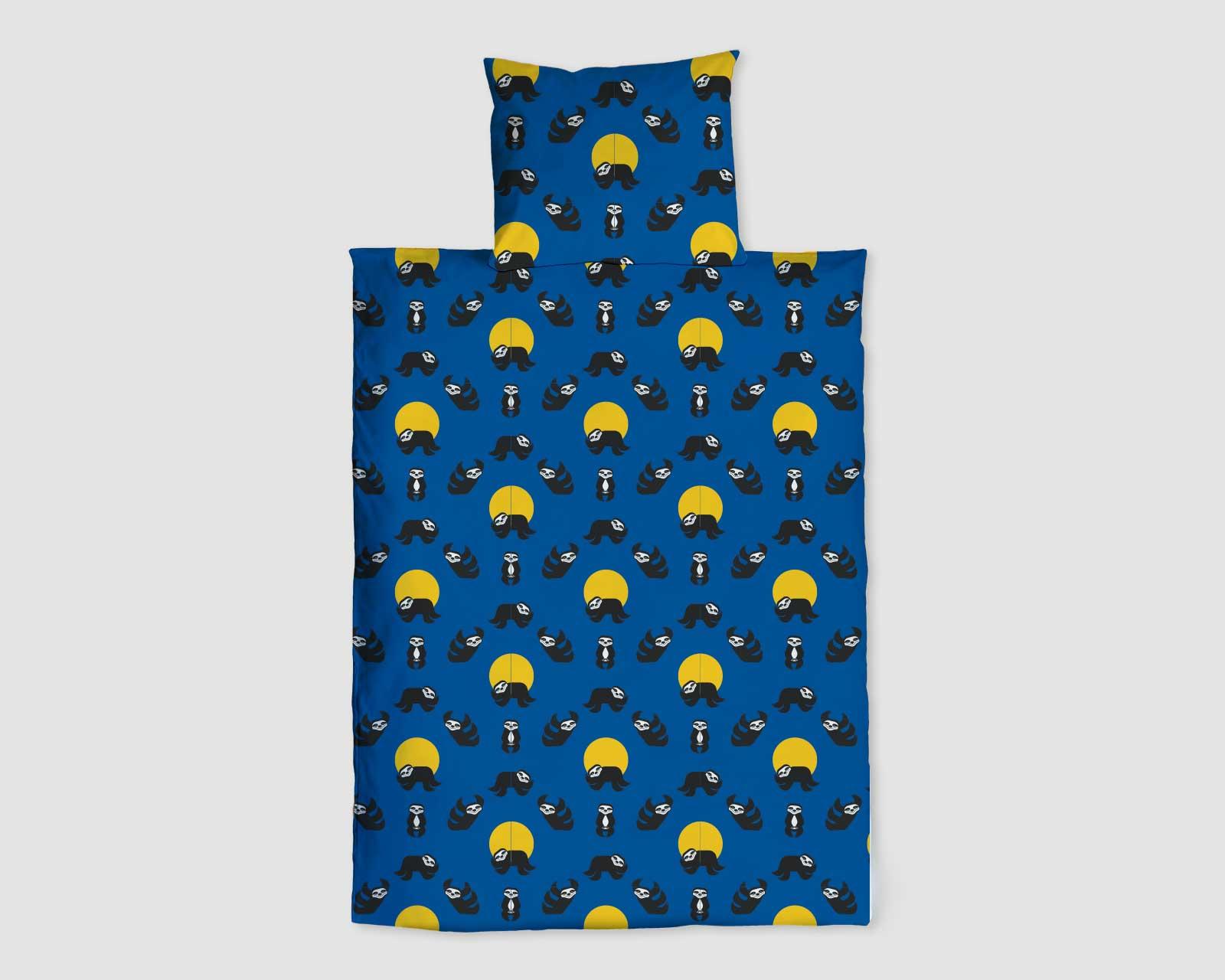 Peuter junior dekbedovertrek Nijlpaard Pie zwart wit 120 x 150 Blauw Wild Nights Luiaard print dubbelzijdig