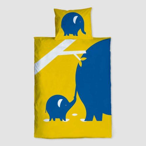 Peuter junior dekbedovertrek Nijlpaard Pie zwart wit 120 x 150 Blauw Geel Never let go olifant