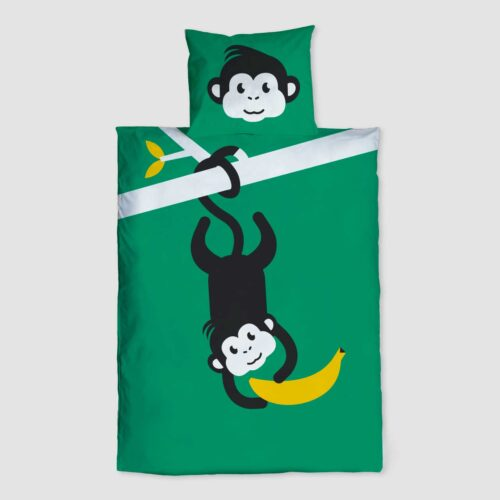 Peuter junior dekbedovertrek Nijlpaard Pie zwart wit 120 x 150 Groen Let's go bananas aapje