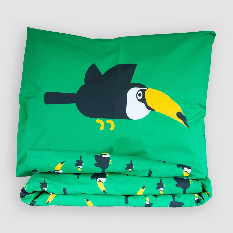 Peuter junior dekbedovertrek Toekan groen 120x150 Birdzzz
