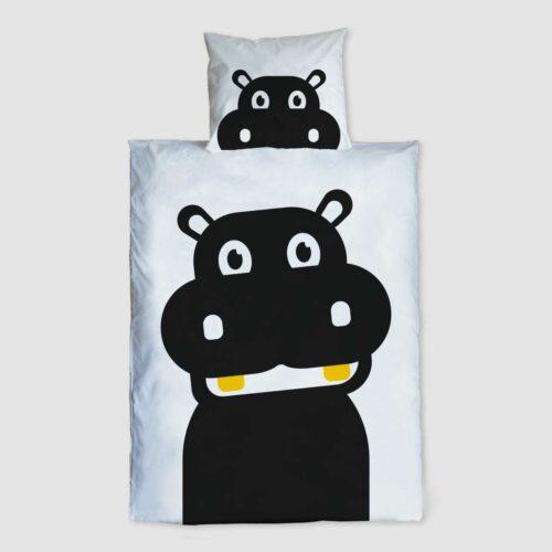 Peuter junior dekbedovertrek Nijlpaard Pie zwart wit 120 x 150 Hippo t'amo