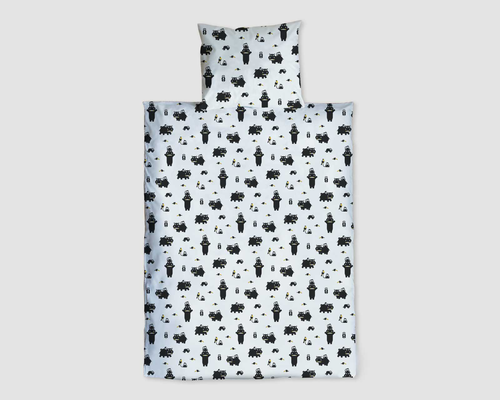 Peuter junior dekbedovertrek Nijlpaard Pie zwart wit 120 x 150 Hippo t'amo dubbelzijdig print