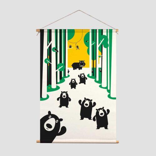 Pie Kinderkamer decoratie textielposter Beren jungle