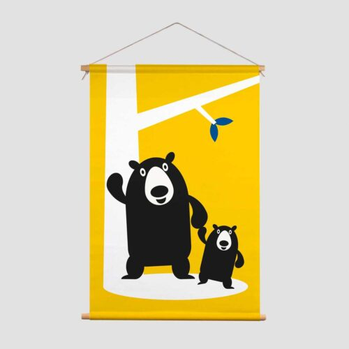 Pie Kinderkamer decoratie textielposter Beren geel