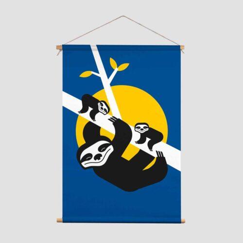 Wild Nights Pie Kinderkamer decoratie textielposter luiaard blauw