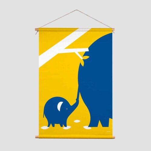 Never let go Pie Kinderkamer decoratie textielposter olifant blauw geel