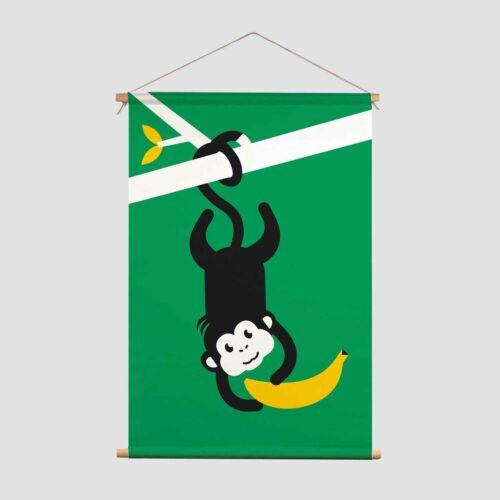 Textielposter Let's go bananas Pie Kinderkamer decoratie textielposter Aapje banaan groen