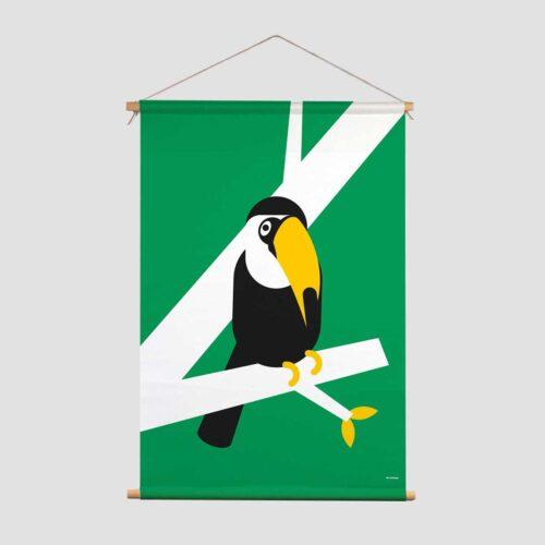 Pie Kinderkamer decoratie textielposter Birdzzz Toekan groen