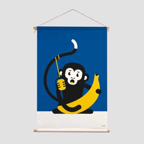 Pie Kinderkamer decoratie textielposter Papa zingend aapje