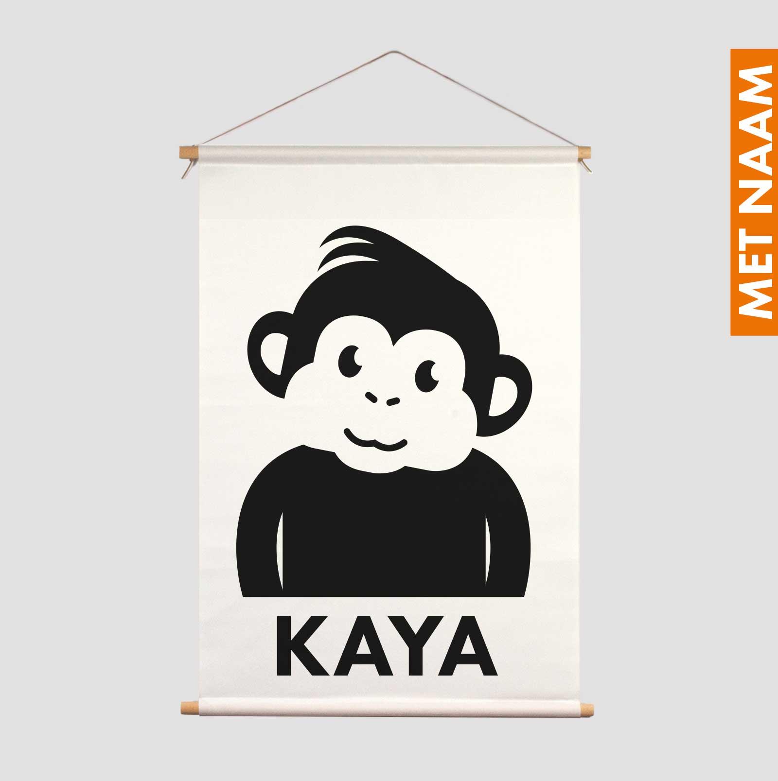 Textielposter gepersonaliseerd kraamcadeau zwart-wit Mono Aapje Pie kraamcadeau decoratie kinderkamer