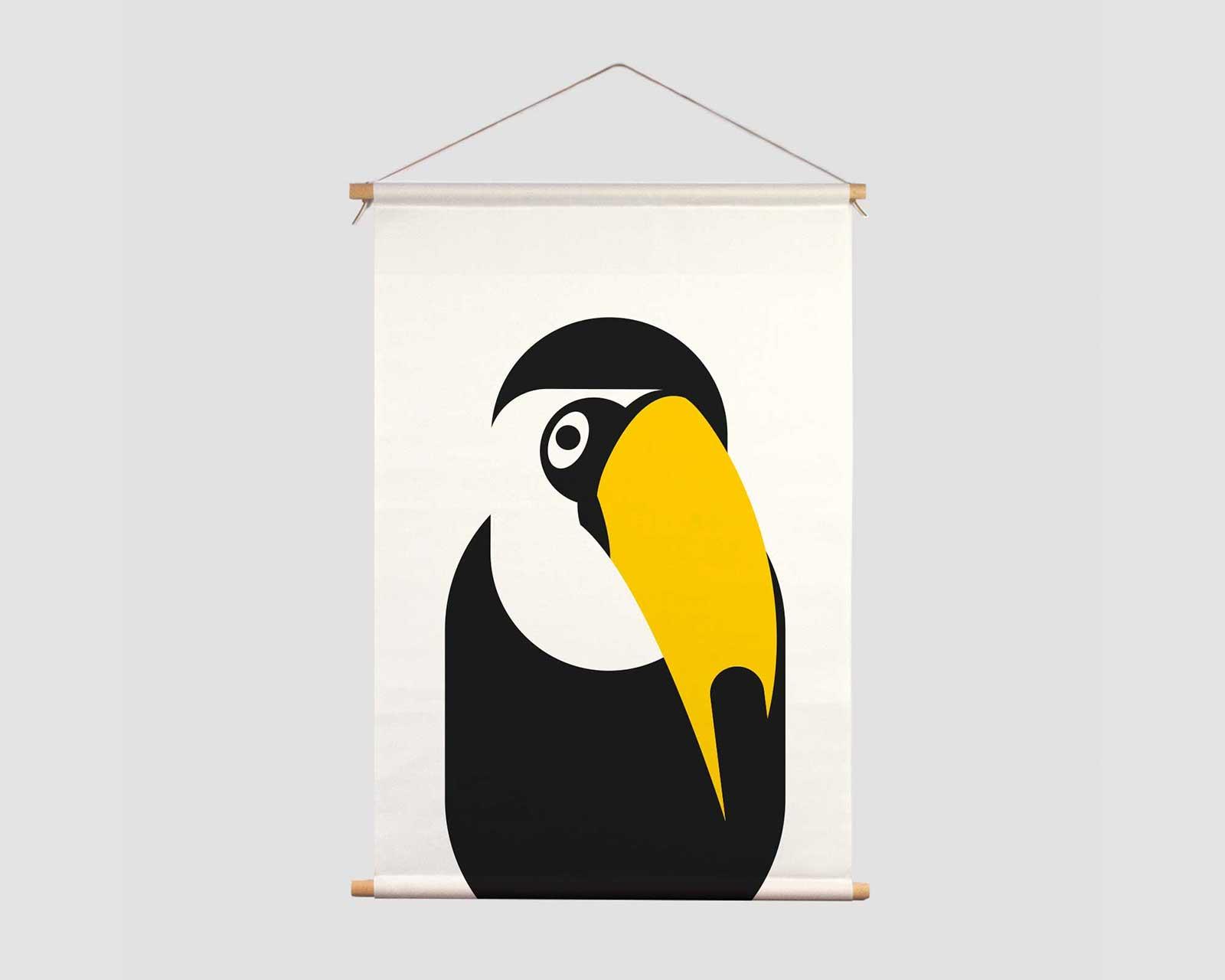 Textielposter zwart-wit print aapje Pie TuCan zwart wit kraamcadeau jungle decoratie kinderkamer