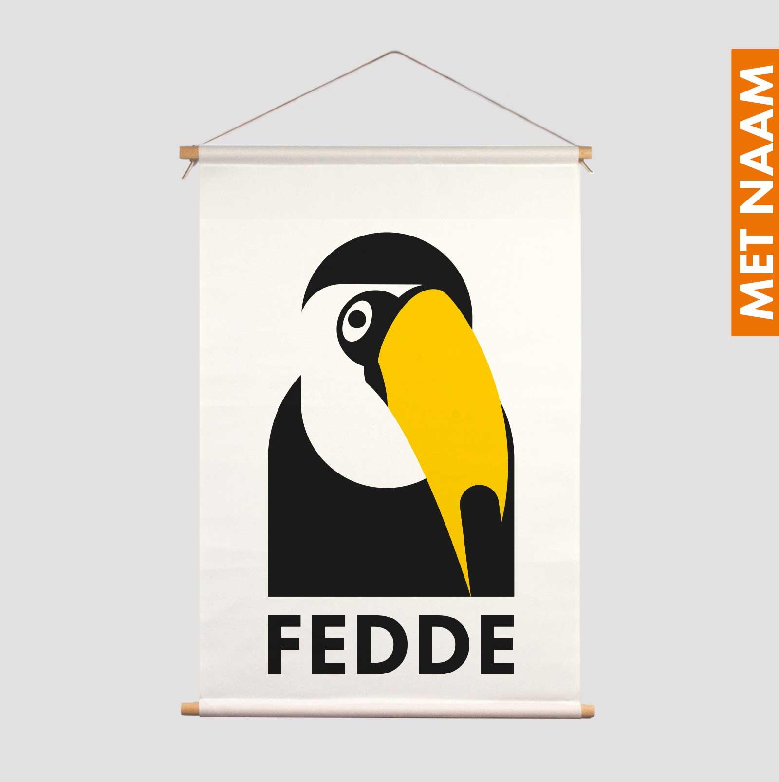 Textielposter zwart-wit Toekan Tucan Pie kraamcadeau decoratie kinderkamer gepersonaliseerd kraamcadeau met naam