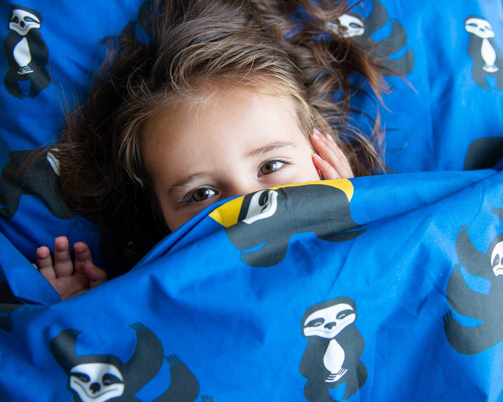Peuter junior dekbedovertrek Nijlpaard Pie zwart wit 120 x 150 Blauw Wild Nights Luiaard print dubbelzijdig Peuter