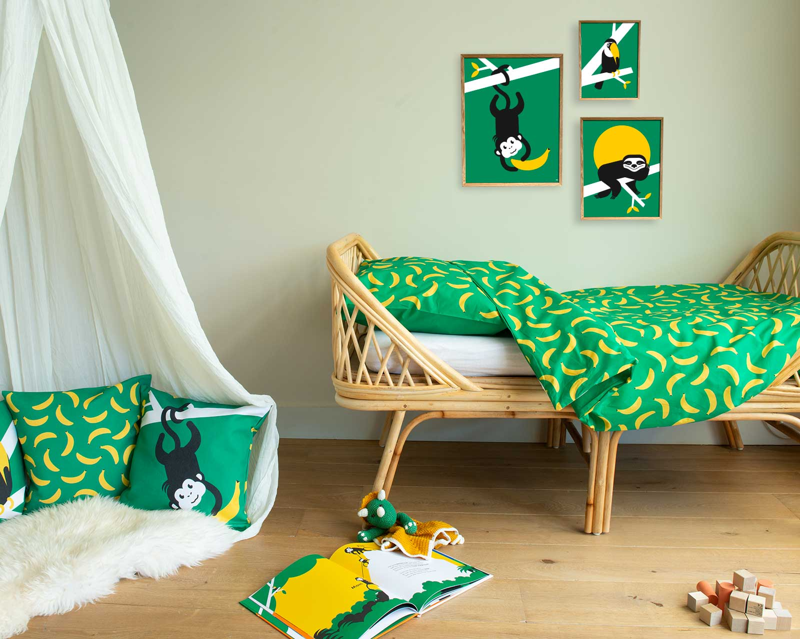 Peuter junior dekbedovertrek aapje Pie groen 120 x 150 Let's go bananas Kinderkamer rotan