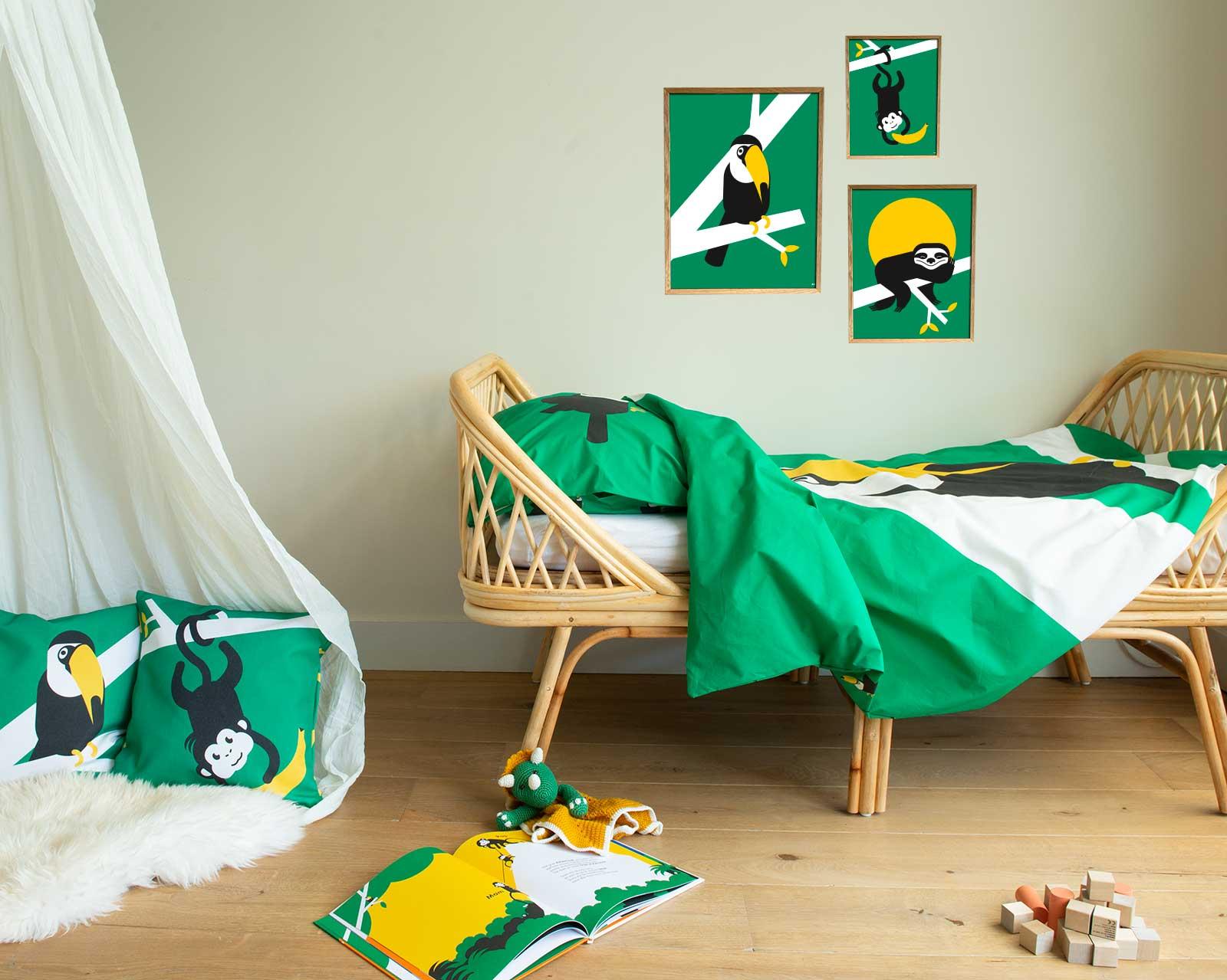 Peuter junior dekbedovertrek Toekan groen 120x150 Birdzzz kinderkamer