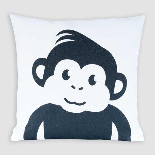 Kussenhoes kinderkamer zwart-wit print aapje Pie Mono zwart wit print jungle decoratie