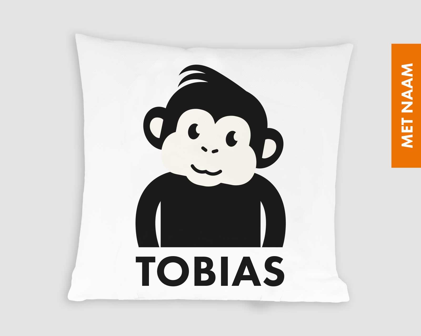 Kussenhoes gepersonaliseerd kraamcadeau met naam kinderkamer zwart-wit print aapje Pie Mono zwart wit print jungle decoratie