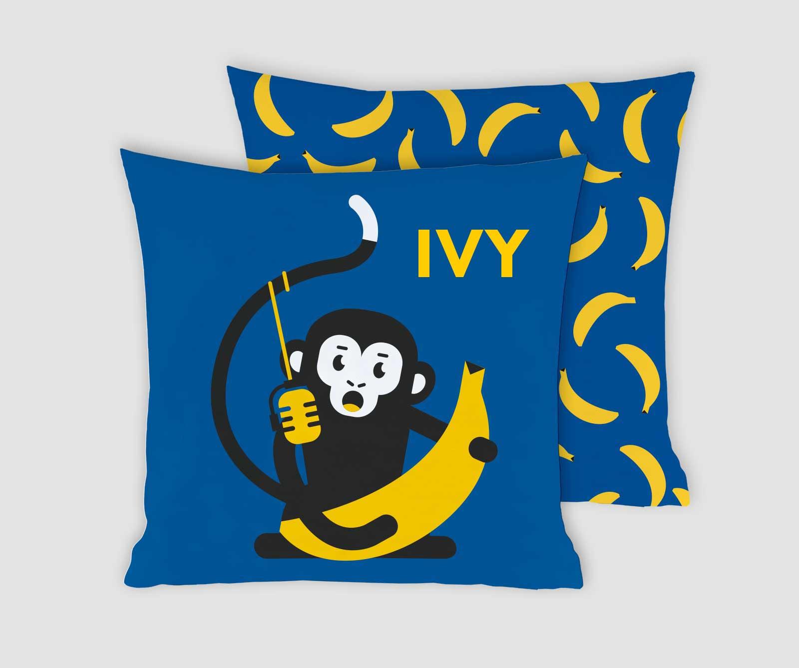 Kussenhoes Daddy Cool gepersonaliseerd kraamcadeau met naam aapje blauw