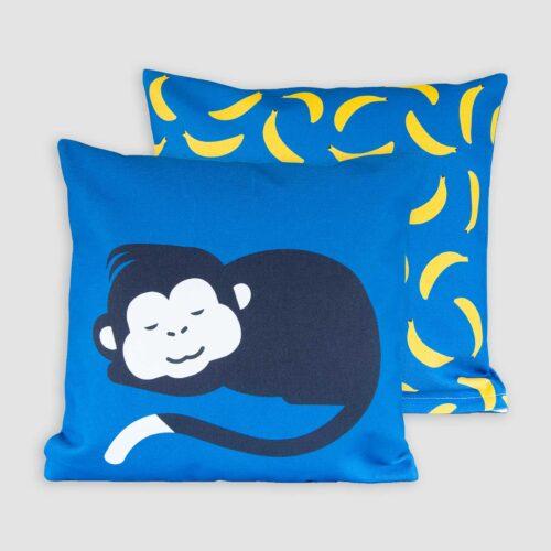 Aapje Kussenhoes kinderkamer blauw geel beren blauw bananen Pie 40x40 cm dubbelzijdige print kraamcadeau