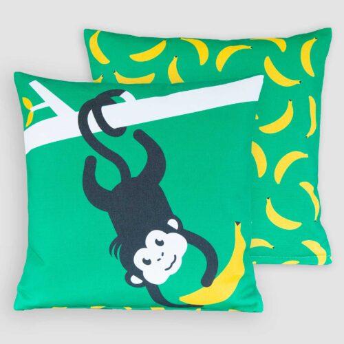 Kussenhoes kinderkamer Let's go bananas aapje Pie groen jungle decoratie