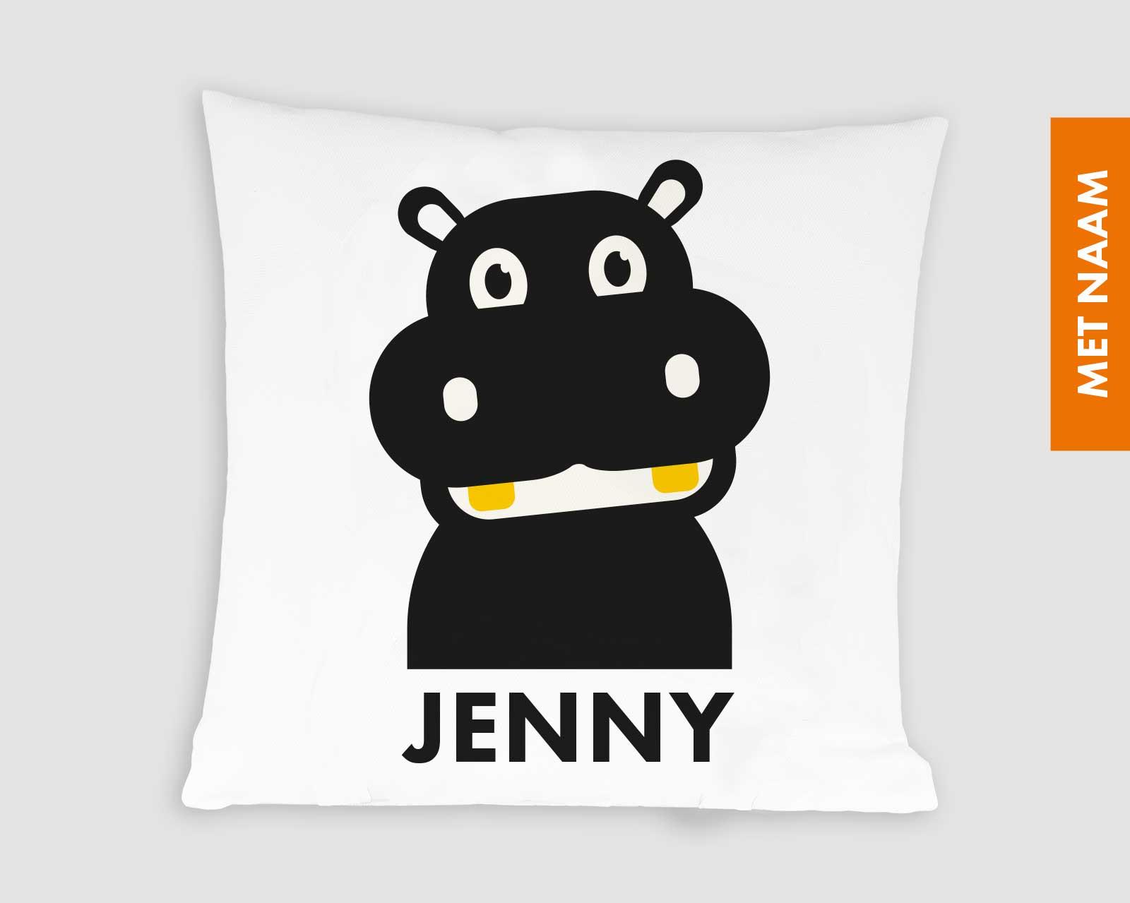 Kussenhoes gepersonaliseerd kraamcadeau met naamkinderkamer zwart-wit print aapje Pie Hippo nijlpaard