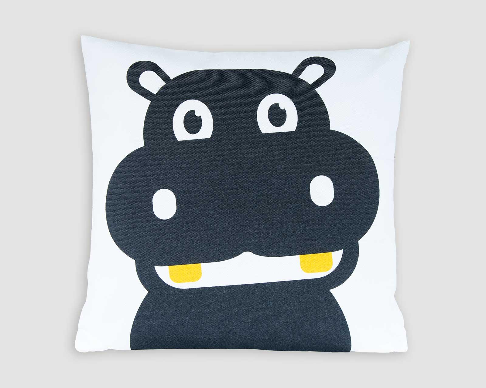 Kussenhoes kinderkamer zwart-wit print aapje Pie Hippo nijlpaard