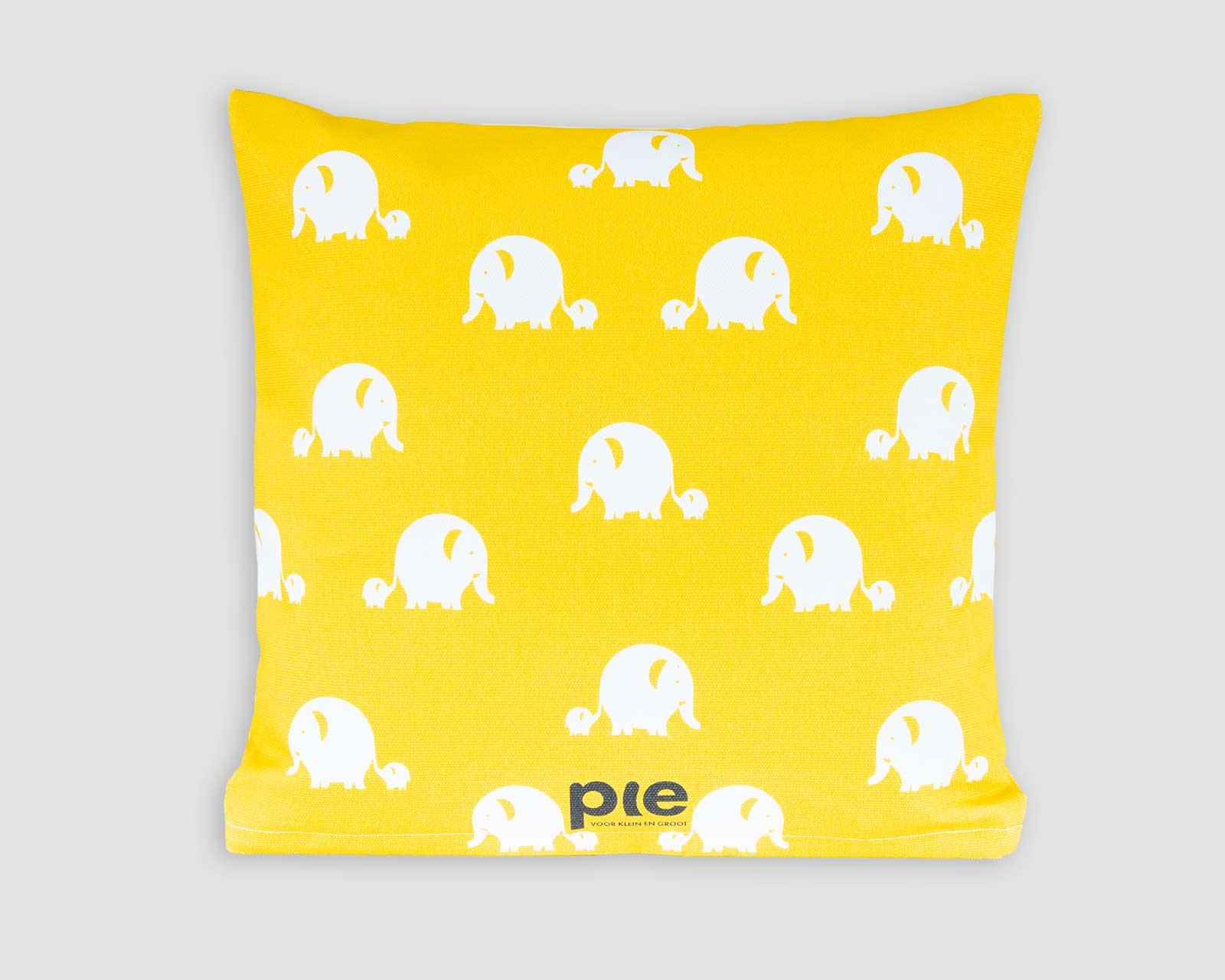 Never let go Kussenhoes kinderkamer blauw geel Olifant Pie 40x40 cm dubbelzijdige print