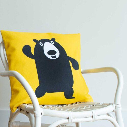 Bear with me Kussenhoes kinderkamer blauw geel Beren Pie 40x40 cm stoel